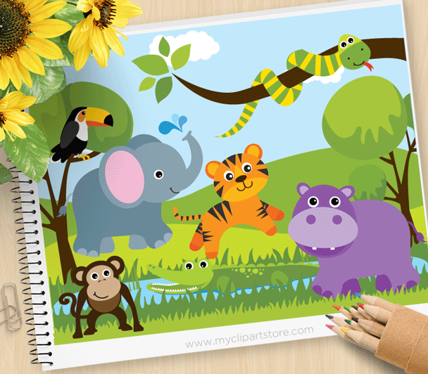 Savannah Zoo Animals Clipart