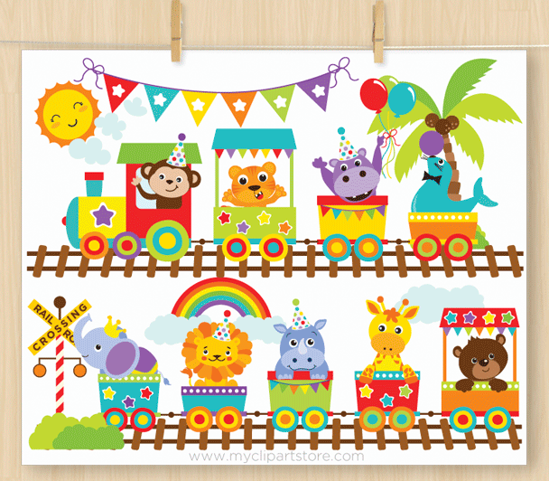 Animal Zoo Train Vector Clipart