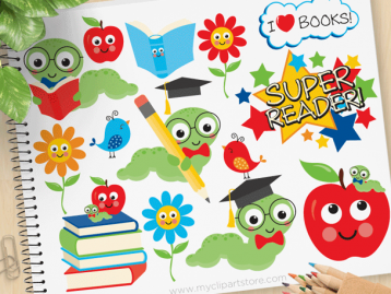 Little Bookworm Vector Clipart