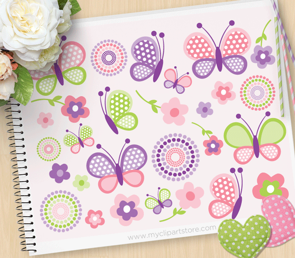 Pink Butterflies Clipart