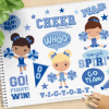 Blue Cheerleaders Clipart