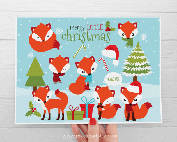 Christmas Fox Red Clipart