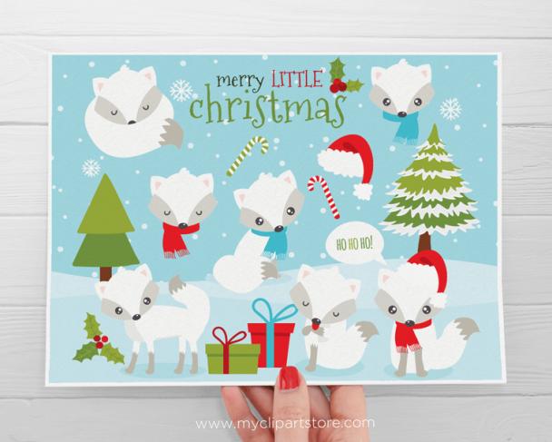 Christmas Fox White Clipart
