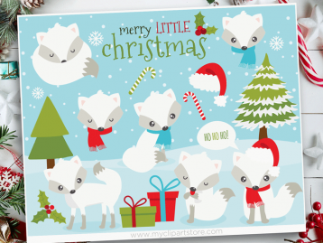 Christmas Fox White Clipart