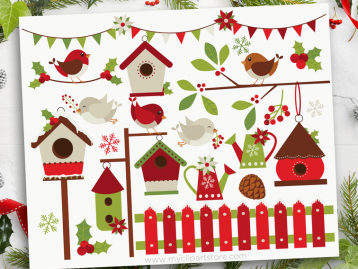 Christmas Red Robins Clipart
