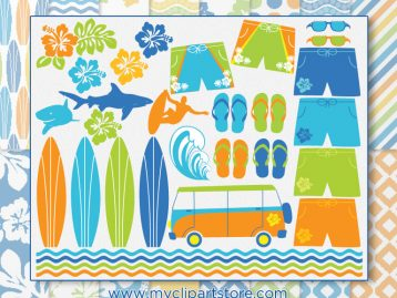 Surfing Safari Clipart Combo