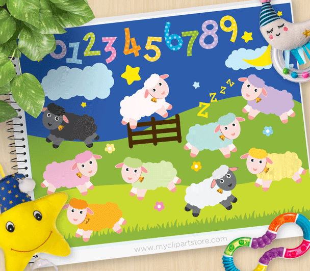 Counting Sheep Clipart