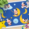 Cow and Moon Vector Clipart