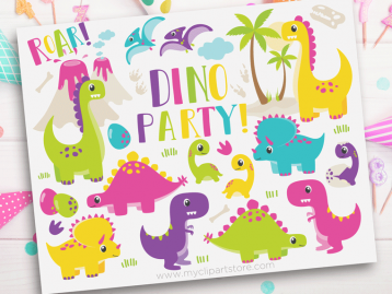 Dinosaur fun girls clipart