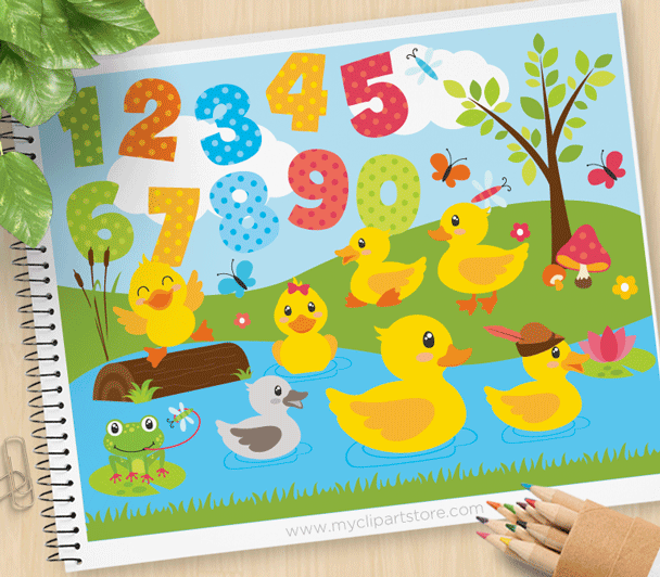 Duck Pond Vector Clipart