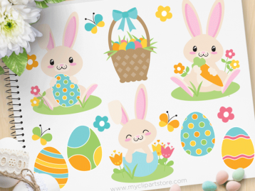 Blue Easter Bunny Clipart