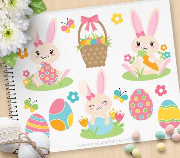 Pink Easter Bunny Clipart