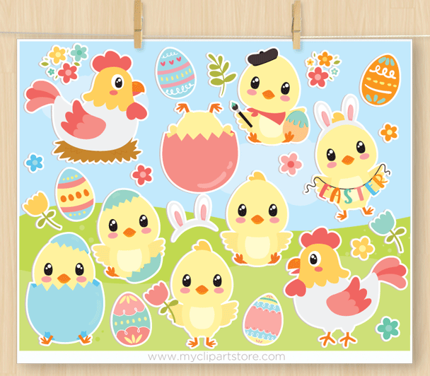 Easter Chicks Vector Clipart