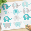 Elephants Blue Vector Clipart