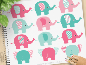 Elephants Pink Blue Vector Clipart