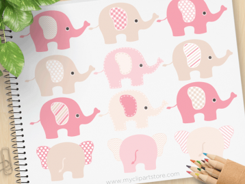 Elephants Pink Vector Clipart