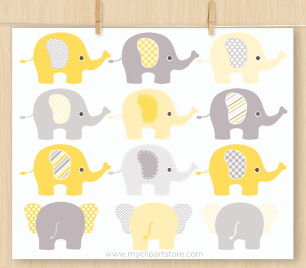 Elephants Yellow Vector Clipart