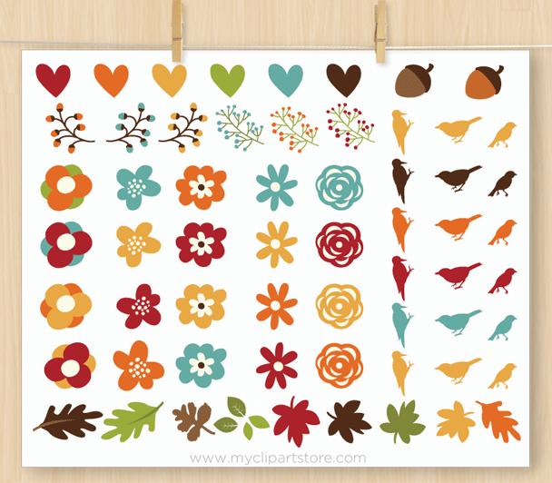 Autumn Floral Wreaths Vector Clipart