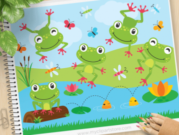 Cute Frogs Vector Clipart