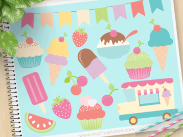 Ice-Cream Truck Vector Clipart