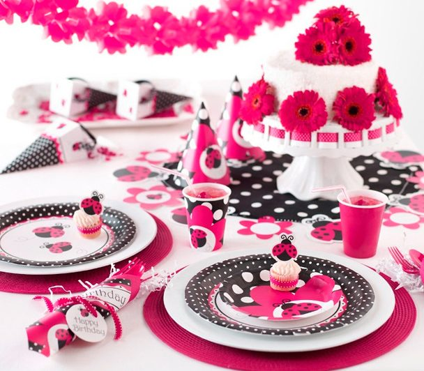 Pink Ladybug Garden Clipart