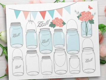 Roses in Mason Jars vector clipart
