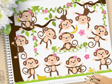 Monkey Around Girls Clipart