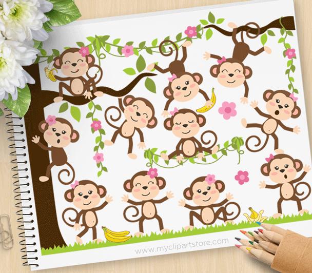 Monkey Around Girls Clipart