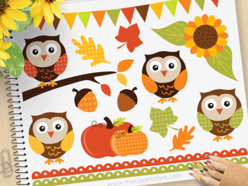 Autumn Owls Vector Clipart