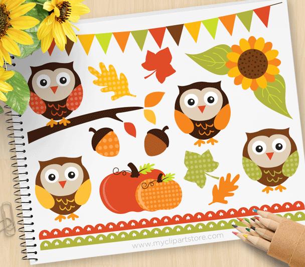 Autumn Owls Vector Clipart