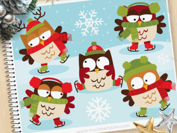 Owls on Skates Clipart