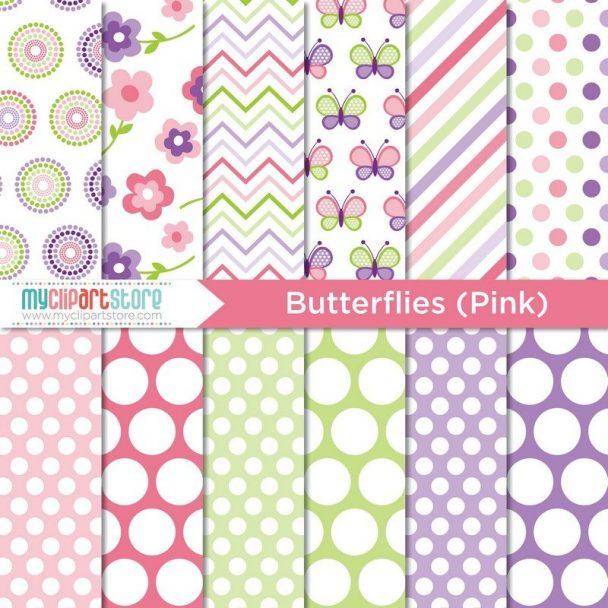 Pink Butterflies Paper