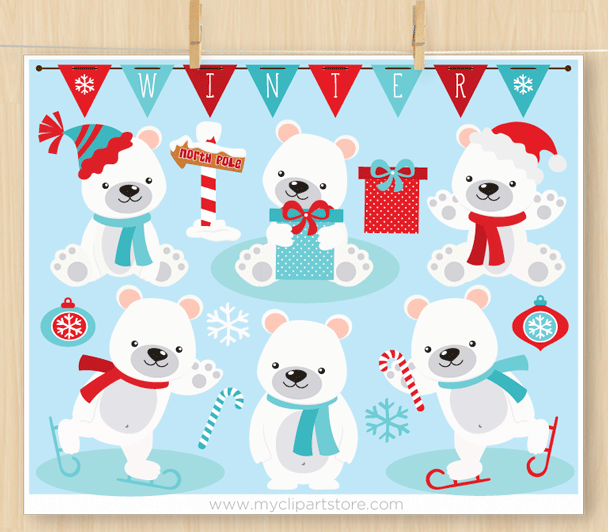 Polar Bears Christmas clipart