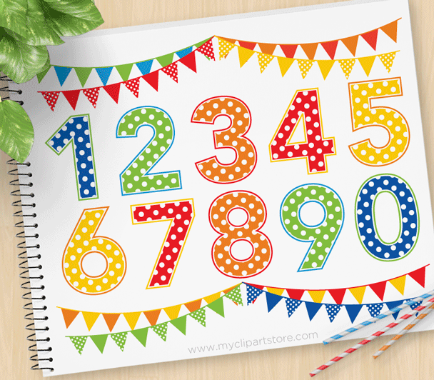 Polkadot Numbers Vector Clipart