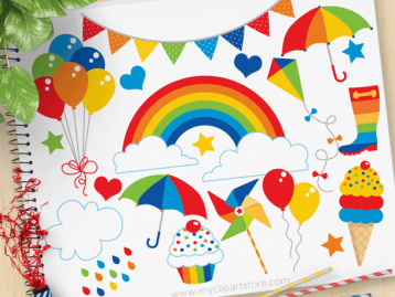 Rainbow Fun Primary Colors Clipart