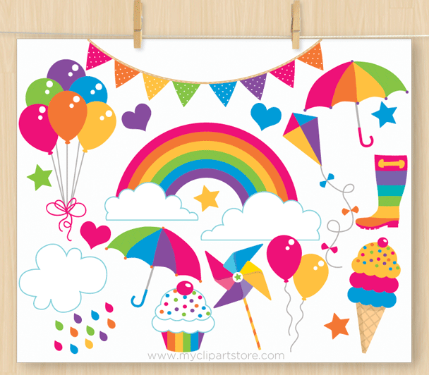 Rainbow Fun Bright Clipart