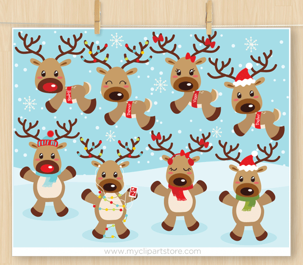 Reindeer Games Clipart Premium Vector Clipart By Myclipartstore