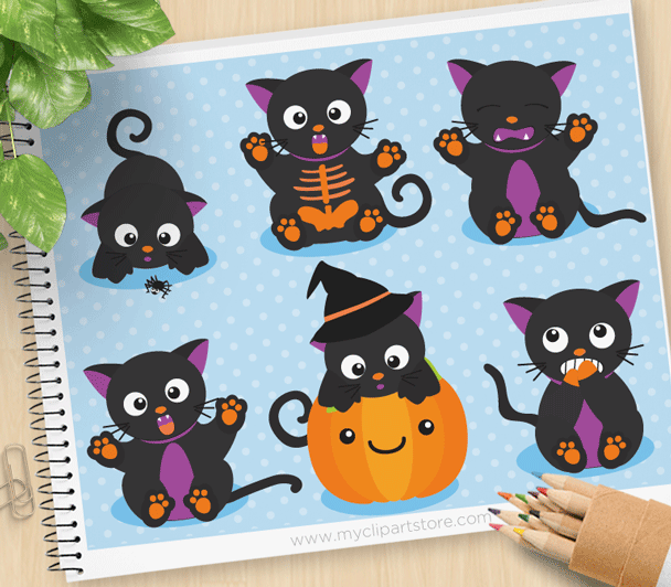 Scaredy Cat Halloween Vector Clipart