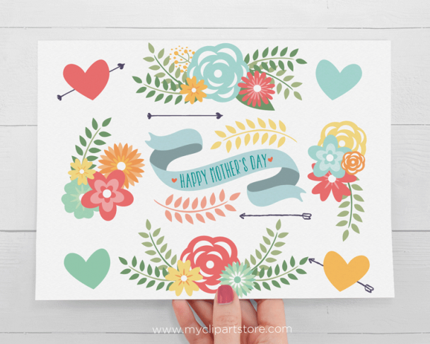 Spring Mother's Day Flowers Vector Clipart