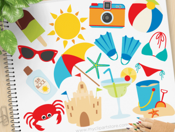 Summer Vacation Vector Clipart