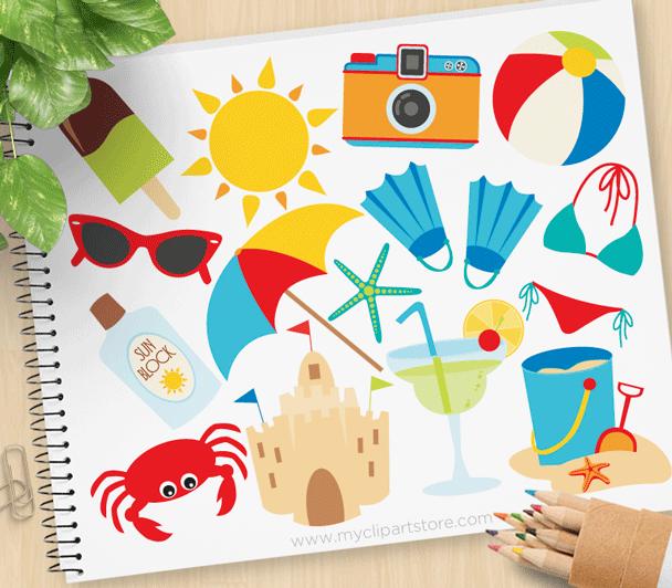Summer Vacation Vector Clipart