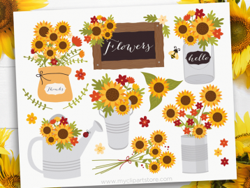 Cottage Sunflowers Clipart