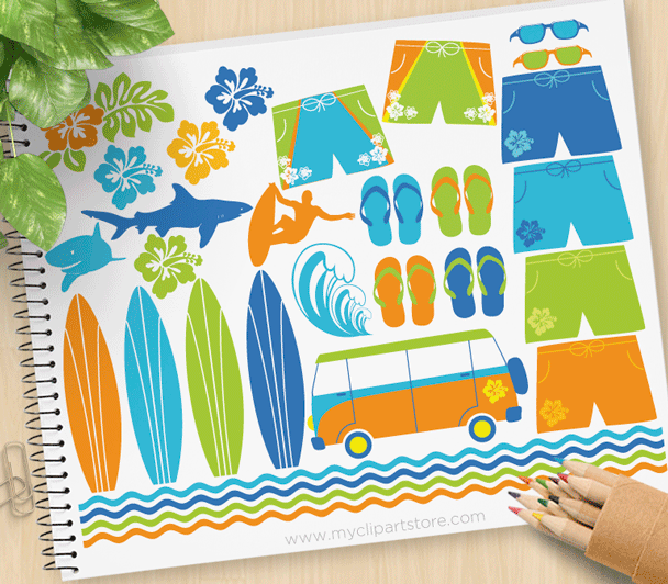 Surfing Safari Vector Clipart