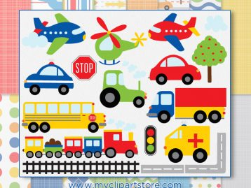 Trains Planes Trucks Clipart