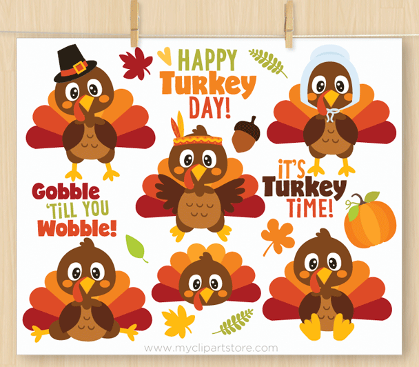Thanksgiving Turkeys Vector Clipart