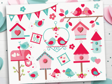 Valentine Love Birds clipart