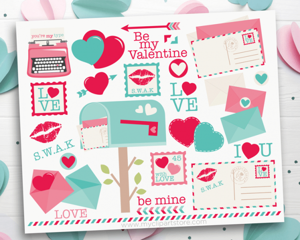 Valentine Love Letters Clipart