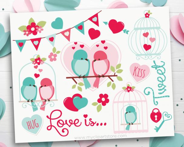 Valentine Love is Tweet Clipart