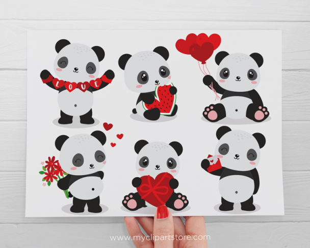 Valentine Pandas clipart