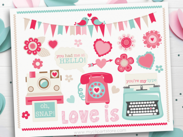 Retro Valentine Elements Clipart